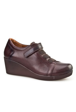 Cabani Dolgu Topuk Günlük Kadın Ayakkabı Kahverengi Analin Deri