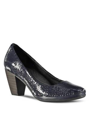 Marjin Midas Topuklu Deri Ayakkabı Lacivert Rugan