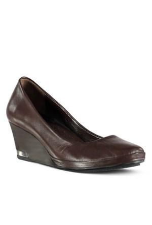 Marjin Salice Deri Dolgu Topuklu Ayakkabı Kahve