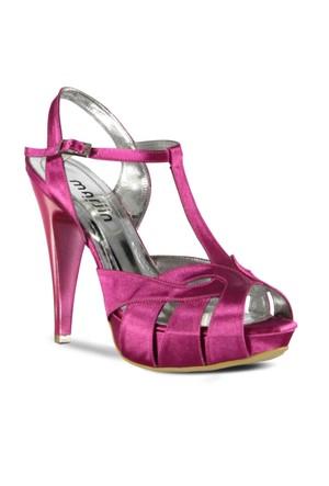 Marjin Elase Abiye Topuklu Ayakkabı Fuşya Saten