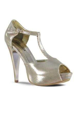 Marjin Felce Topuklu Abiye Ayakkabı Pudra Altın