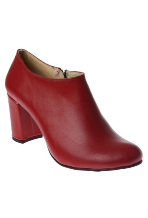 Shalin Dömi Ayakkabı Kırmızı Mat Fermuarlı Tasarım Bayan