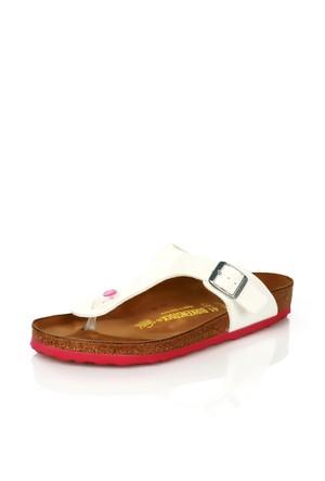 Birkenstock 345081 White Patent Gizeh Sandalet