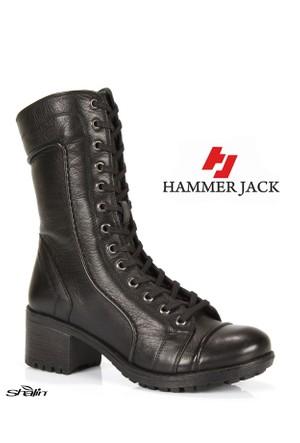 Hammer Jack 2979 Siyah Bağlı Hakiki Deri Kışlık Bayan Bot