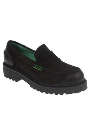İloz 334121 Siyah Hakiki Deri Loafer Tarz Bayan Ayakkabı