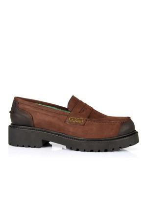 İloz 334121 Kahve Hakiki Deri Loafer Tarz Bayan Ayakkabı