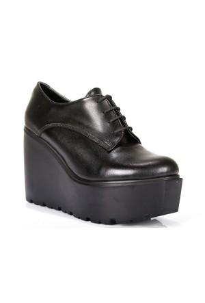 Shalin 108 Siyah Özel Tasarım Platform Dolgu Taban Kadın Ayakkabı