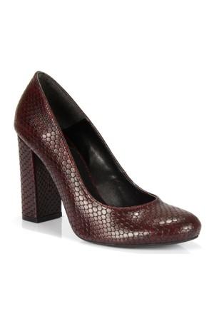 Shalin Bordo Kalın Topuk Baskılı Kadın Ayakkabı