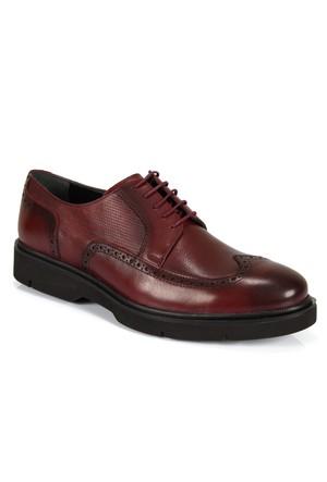 Shalin 828 Bordo Hakiki Deri Bağcıklı Erkek Ayakkabı