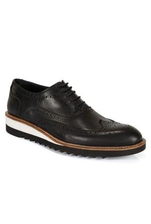Shalin 671 Siyah Hakiki Deri Bağcıklı Erkek Ayakkabı