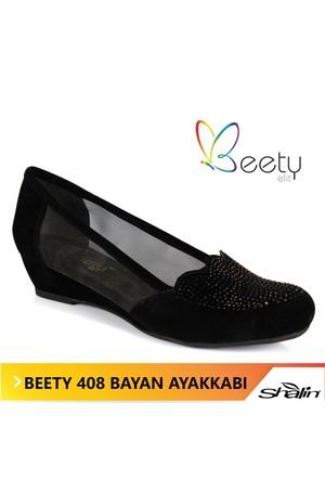 Beety 408 Siyah Süet Taşlı Fileli Bayan Ayakkabı