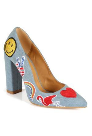Shalin 2999 Mavi Kot Nakışlı Topuklu Bayan Ayakkabı