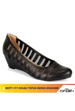 Beety 317 Siyah Dolgu Topuk Bayan Ayakkabı