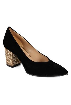 Shalin 1112 Siyah Altın Cam Taşlı Topuklu Bayan Ayakkabı