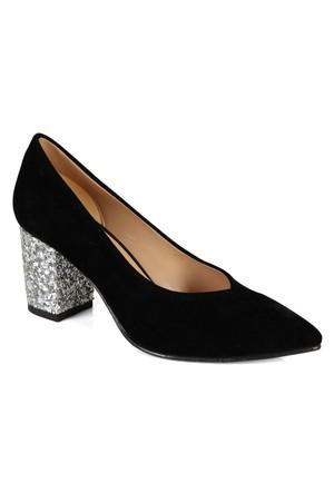 Shalin 1112 Siyah Gümüş Cam Taşlı Topuklu Bayan Ayakkabı