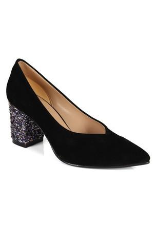 Shalin 1112 Siyah Renkli Cam Taşlı Topuklu Bayan Ayakkabı