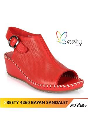 Beety 4260 Kırmızı Hakiki Deri Bayan Sandalet
