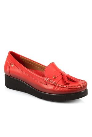 İloz 240109 Kırmızı Hakiki Deri Günlük Bayan Ayakkabı
