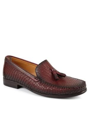 Hammer Jack 8005 Bordo Püsküllü Baskılı Loafer Erkek Ayakkabı