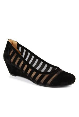Beety 317 Siyah Süet Dolgu Topuk Bayan Ayakkabı