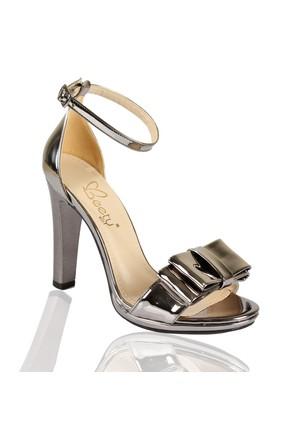 Beety 508 Platin Ayna Topuklu Bayan Sandalet