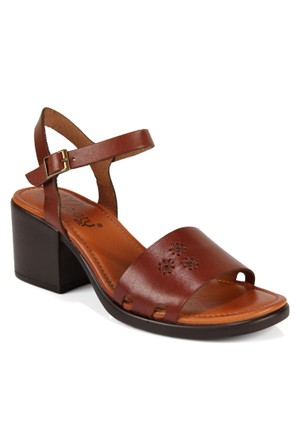 Beety 401 30 Fındık Hakiki Deri Topuklu Bayan Sandalet