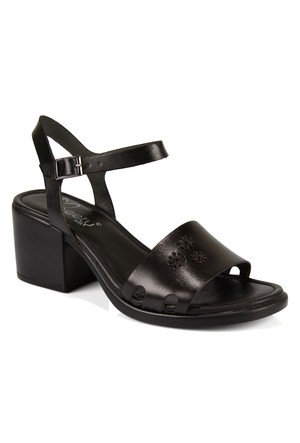 Beety 401 30 Siyah Hakiki Deri Topuklu Bayan Sandalet