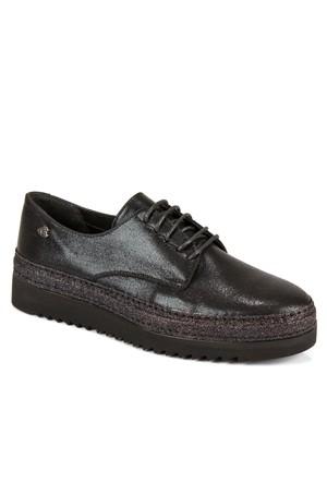 Venüs Vns 234609 Siyah Hakiki Deri Bağcıklı Günlük Bayan Ayakkabı