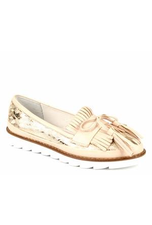 Venüs Vns 28701 Bej Hakiki Deri Baskılı Püsküllü Günlük Kadın Ayakkabı
