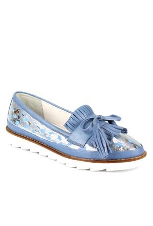 Venüs Vns 28701 Kot Mavi Hakiki Deri Baskılı Püsküllü Günlük Kadın Ayakkabı