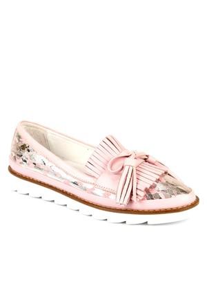 Venüs Vns 28701 Pembe Hakiki Deri Baskılı Püsküllü Günlük Kadın Ayakkabı