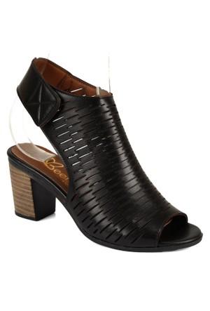 Beety 1451 Siyah Topuklu Bayan Sandalet