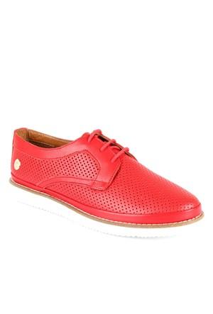 Shalin Est 054 Kırmızı Hakiki Deri Bayan Ayakkabı Günlük