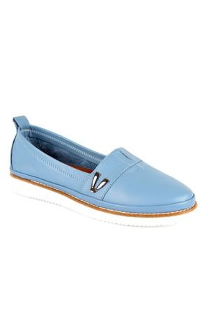 Shalin Est 59 Kot Mavi Hakiki Deri Bayan Ayakkabı Günlük