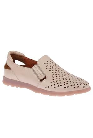Beety 14152 Bej Hakiki Deri Bayan Ayakkabı