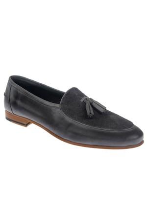 Shalin Szr 369 Gri Hakiki Deri Püsküllü Erkek Ayakkabı