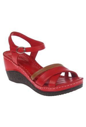 Shalin Ges 5072 Kırmızı Hakiki Deri Günlük Bayan Sandalet