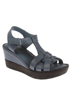 Beety Bty 303 Kot Mavi Hakiki Deri Dolgu Tabanlı Bayan Sandalet