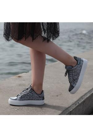 Shalin Lfm 10 Siyah Pul Günlük Bayan Ayakkabı Spor