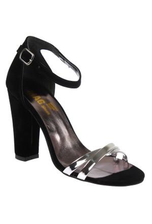 Shalin Rita Siyah Gümüş Bayan Topuklu Sandalet