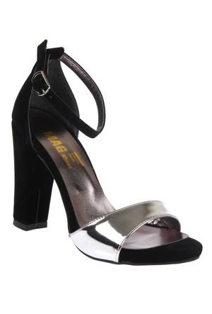 Shalin Mina Siyah Gümüş Bayan Topuklu Sandalet