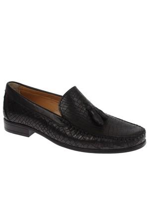 Hammer Jack 8005 Siyah Püsküllü Baskılı Loafer Erkek Ayakkabı