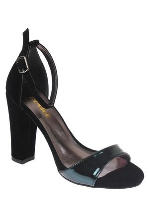 Shalin Mina Siyah Yeşil Bayan Topuklu Sandalet