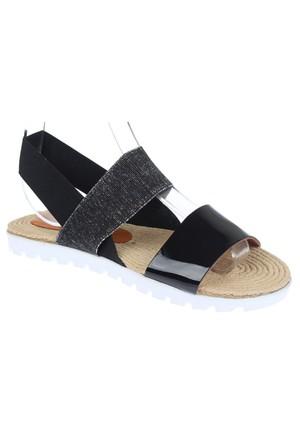 Shalin Szr 550 Siyah Gümüş Hakiki Deri Bayan Sandalet