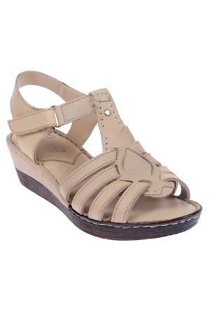 Beety Bty 23201 Bej Hakiki Deri Kadın Sandalet