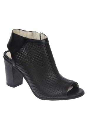 İloz Snj 123604 Siyah Hakiki Deri Kadın Sandalet