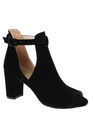 Shalin Szr 757 Siyah Süet Kadın Sandalet