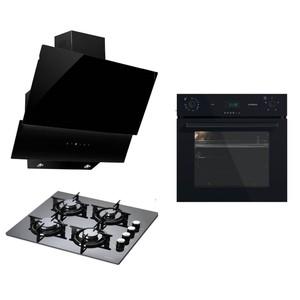 luxell 3 lü black pure ankastre set lx-a6sf2 6dt siyah dijital ankastre fırın lx-40 tahdf siyah cam ankastre ocak lx-735 lx-730 siyah cam davl...
