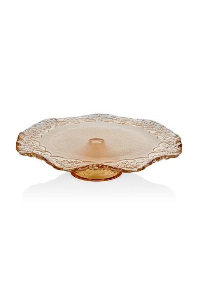 Cemile Dantel Lüster Amber Ayaklı Tabak 32 Cm
