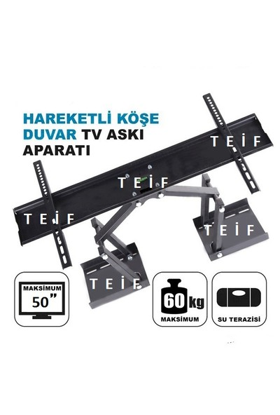 Teif 50'' Terazili Lcd / Led Tv Köşe Ve Duvar Tipi Askı Aparatı